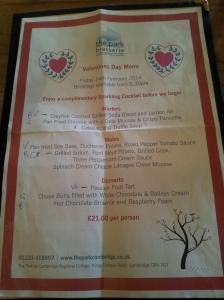 menu st valentine